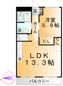 LDK13.3帖 洋室5.8帖 1LDK 45.63㎡