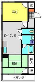 睦ハイツ4階Fの間取り画像