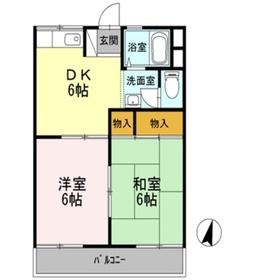 浅尾山ハイツ2階Fの間取り画像
