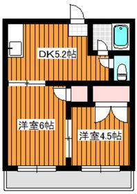 コーポサンフラワー2階Fの間取り画像