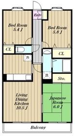 第5旭マンション3階Fの間取り画像