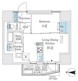 コスモグラシア入谷サウス8階Fの間取り画像