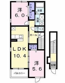 中神駅 徒歩26分2階Fの間取り画像