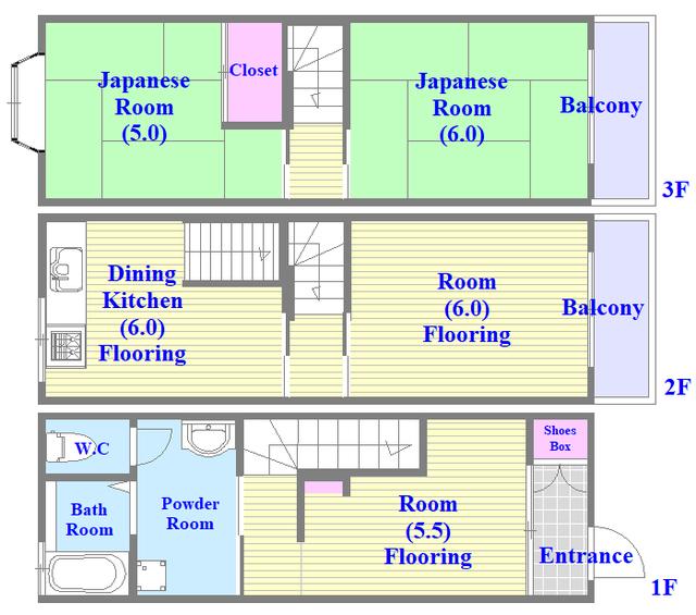 巽北1-29-14 貸家 セパレートで和室もありファミリータイプにはおススメの間取です。