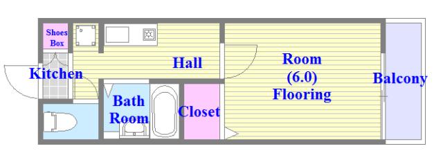 ブリエール布施A棟 うれしいバス・トイレがセパレートの単身さん向けの間取りです。