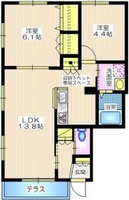 メゾンかきの木弐番館1階Fの間取り画像