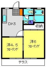 FUJIハイツA2階Fの間取り画像