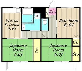 ビレッジハウス下九沢2階Fの間取り画像