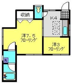 コーポ金井1階Fの間取り画像