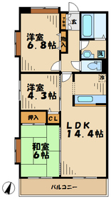 海老名駅 車14分4.9キロ3階Fの間取り画像