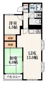 石田ハイツ3階Fの間取り画像