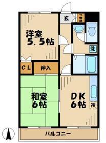 メゾンブランシュ2階Fの間取り画像