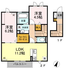 メゾン楓Ⅲ2階Fの間取り画像