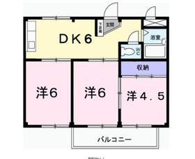 長塚ハイツⅠ2階Fの間取り画像