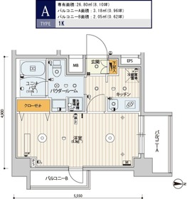 スカイコートパレス錦糸町Ⅱ9階Fの間取り画像