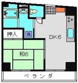 スリーハイツ1号棟2階Fの間取り画像