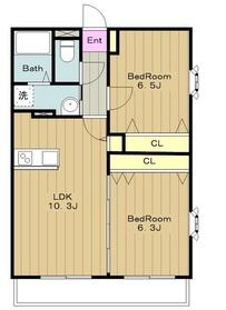 ヴァンヴェール三輪3階Fの間取り画像