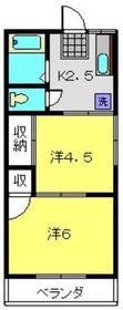 尾原荘2階Fの間取り画像