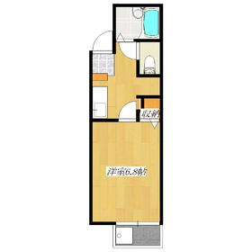 バストイレ別で居室はなんと6.8帖もあるんです!