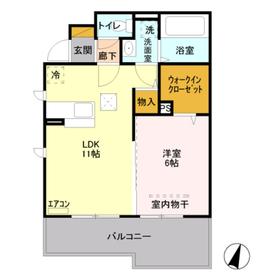 ウィット武蔵浦和1階Fの間取り画像