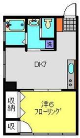 第一岩崎コーポラス2階Fの間取り画像
