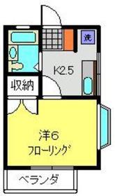 ヴィラ平塚2階Fの間取り画像