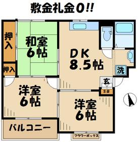 グランディールYAMANI3階Fの間取り画像