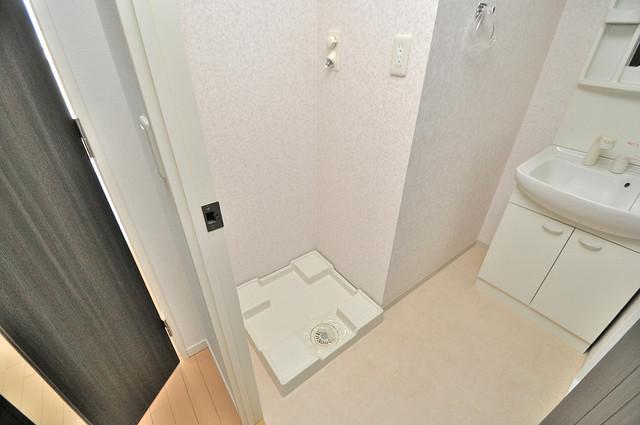 CASSIA高井田NorthCourt 嬉しい室内洗濯機置場。これで洗濯機も長持ちしますね。