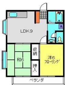 ドミール堀上1号棟2階Fの間取り画像
