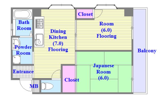 ニューハイツアサヒ セパレートで和室もありファミリータイプにはおススメの間取です。