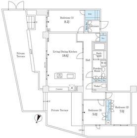 高輪パークハウス コリーヌ1階Fの間取り画像