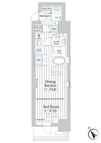 ライオンズフォーシア築地ステーション2階Fの間取り画像