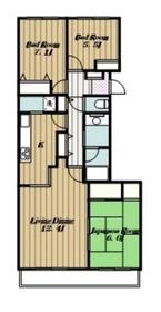 リバティタウン伊勢原15番館6階Fの間取り画像