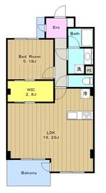 カスタネア栗平(旧プリメール栗平)3番館4階Fの間取り画像