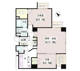 小石川パークタワー6階Fの間取り画像