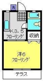 梶山ハイツ2階Fの間取り画像