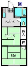内野ハイツ1階Fの間取り画像