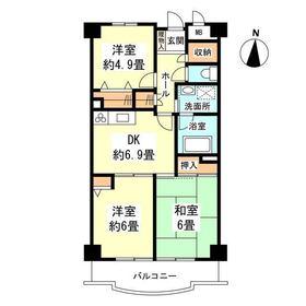 新丸子駅 徒歩29分4階Fの間取り画像