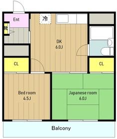 エスポワール小菅2階Fの間取り画像
