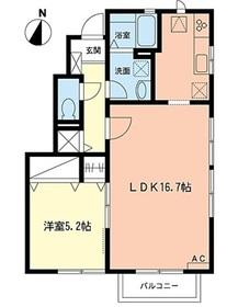 カーサ コンフォルテーヴェレ1階Fの間取り画像