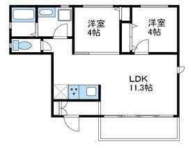 ナカムラカシアパート1階Fの間取り画像
