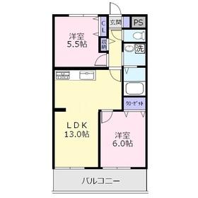 オーキッドマンション1階Fの間取り画像