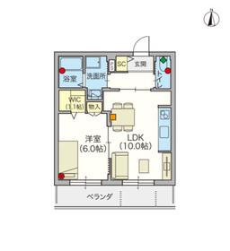 (シニア限定)Village Daishi Hills 四番館2階Fの間取り画像