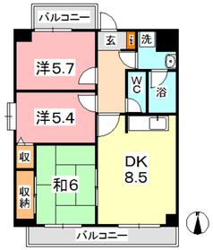 マンション曽根本6階Fの間取り画像