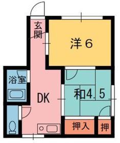 ハイツ京町1階Fの間取り画像