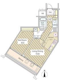 MOMENTO SHIODOME18階Fの間取り画像