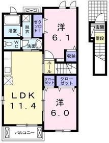 金子駅 徒歩22分2階Fの間取り画像