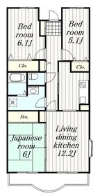 鶴間駅 徒歩8分4階Fの間取り画像