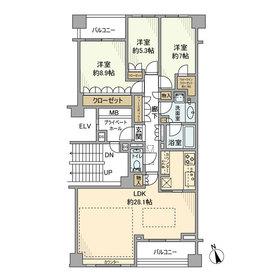 ザ・パークハウスグラン南青山高樹町2階Fの間取り画像