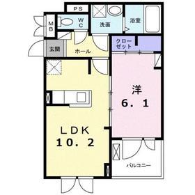 ヒルサイドハウス2階Fの間取り画像